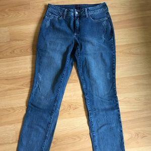 NYDJ Boyfriend Distressed Slim Jeans